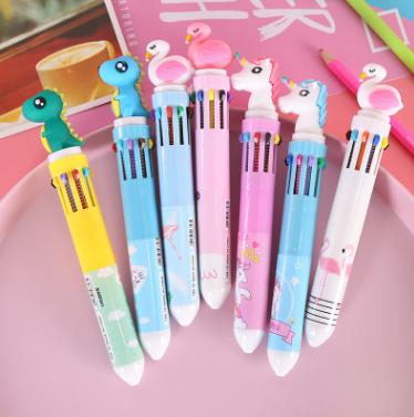 火烈鸟卡通10色圆珠笔韩国创意文具彩色按动塑料笔办公学习用品礼
