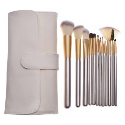 厂家现货12支化妆刷米白色套刷工具化妆套妆小马毛美妆套装