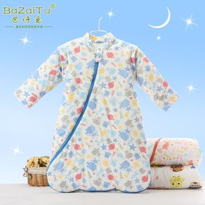 厂家直销婴儿睡袋秋冬款纯棉宝宝防踢被子新生儿小童新款连体睡衣