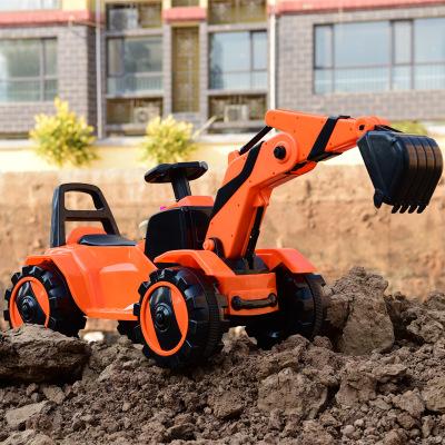 源头厂家直销儿童电动挖掘机可做可骑 小孩玩具车音乐灯光工程车