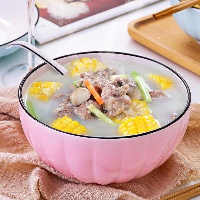家用碗筷套装南瓜陶瓷餐具碗 ins粉蓝沙拉创意微波炉用