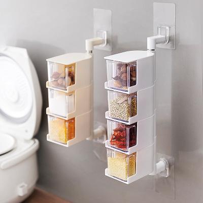 厨房免打孔壁挂式可旋转调味盒 多层抽屉式调料盒