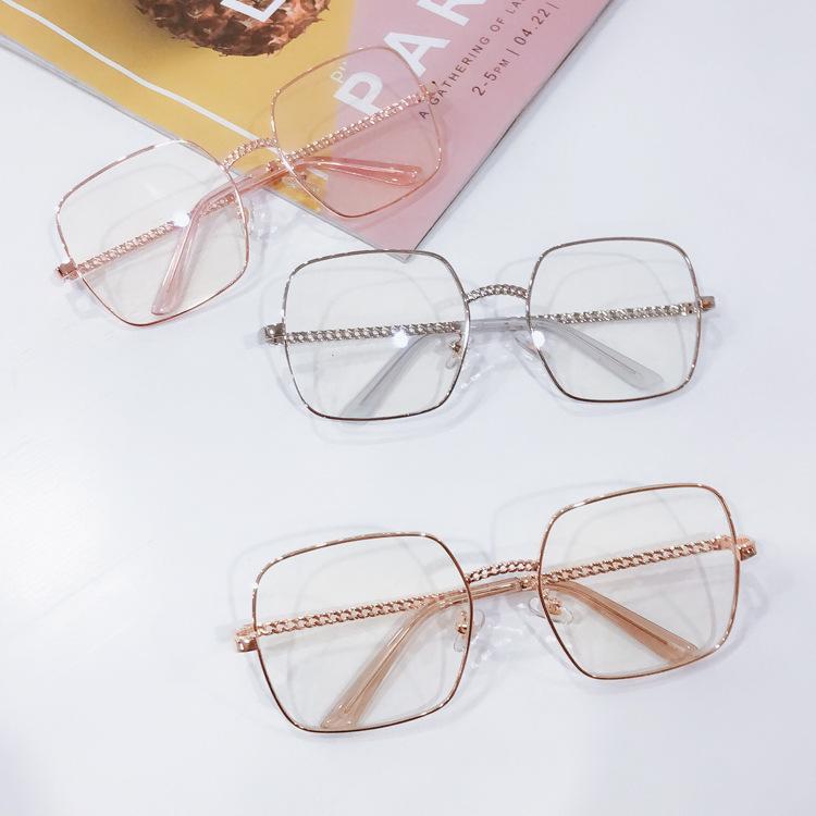 爆款方框眼镜框架男女墨镜 眼镜可配链条