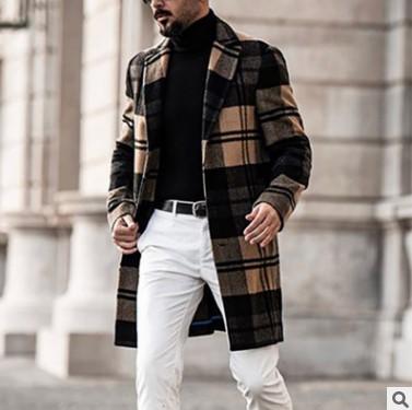2020亚马逊独立站冬装外套 中长款休闲格子男士呢子大衣 跨境货源