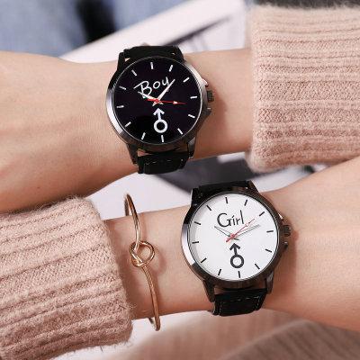 韩版手表女黑白色大表盘 情侣手表学生风