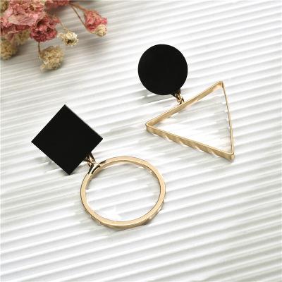 韩版时尚简约三角形不对称耳环女 圆形耳坠个性几何耳饰