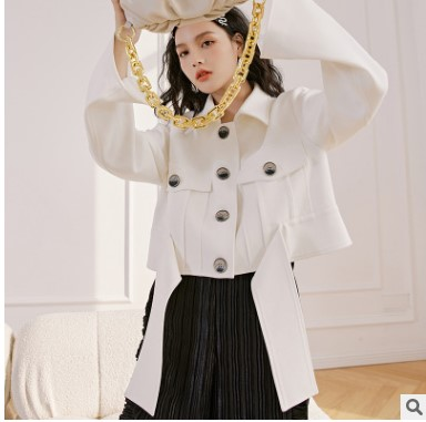 2021春季新款女装白色外套韩版休闲短外套女春秋个性下摆女士上衣