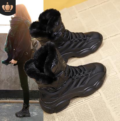 棉鞋女2020年冬季新款短靴加绒加厚保暖高帮鞋女皮毛一体雪地靴女