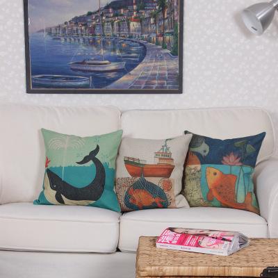 海底世界鱼图案棉麻亚麻抱枕 创意礼品抱枕套