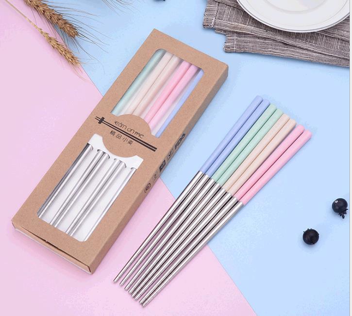 彩色小麦304不锈钢筷子批发 家用防滑小麦秸秆筷子礼品套装