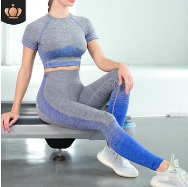 2020秋冬新款跨境美背瑜伽套装女 跑步瑜伽短袖套装 瑜伽运动套装