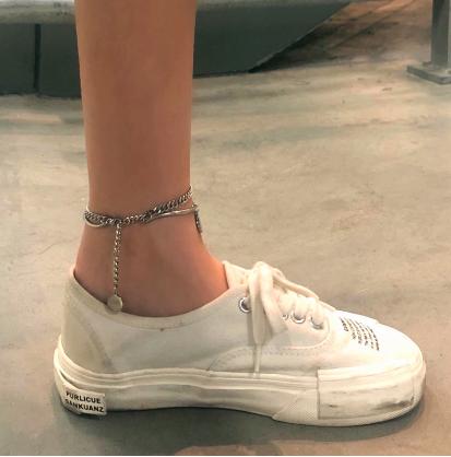韩版网红超酷学生嘻哈蛇骨拼接双层暗黑冷淡风不锈钢脚链男女潮流