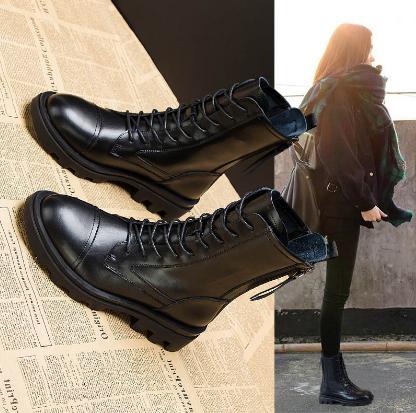 店铺主推 优选新品 内增高马丁靴女鞋英伦风2020秋冬季新款真皮加绒切尔西靴短靴子女