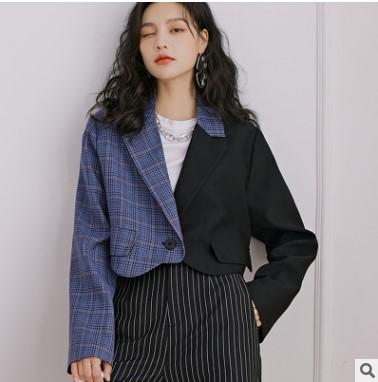 2021新款春季女装西服外套格子拼接西装外套女韩版短款小西装代货