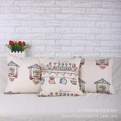 全棉加厚全棉布抱枕 清新简约房子图案靠枕