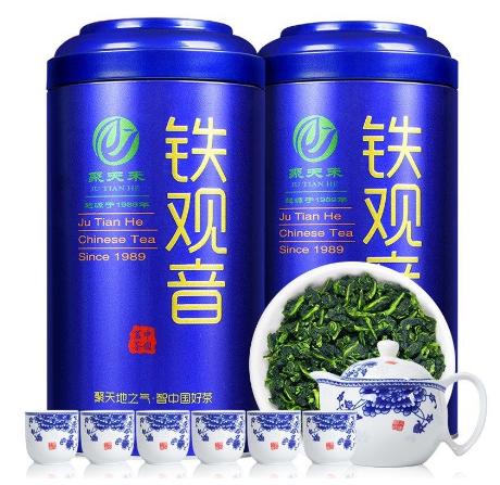 送一壶六杯聚天禾浓香铁观音茶叶铁罐装500g安溪乌龙茶兰花香新茶