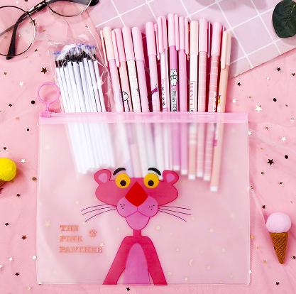 可爱少女粉色中性笔笔袋集合套装学霸笔12支黑色0.5MM签字笔套装