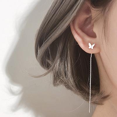 S925银蝴蝶耳线女长款气质高级感 蝴蝶耳环新款超仙流苏耳坠