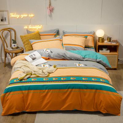纯棉加厚磨毛四件套床上用品 保暖斜纹印花单双人全棉被套床单