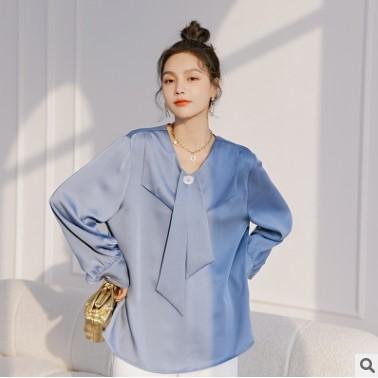2021新款春装女上衣长袖学院领衬衫女韩版宽松纯色衬衣女一件代货