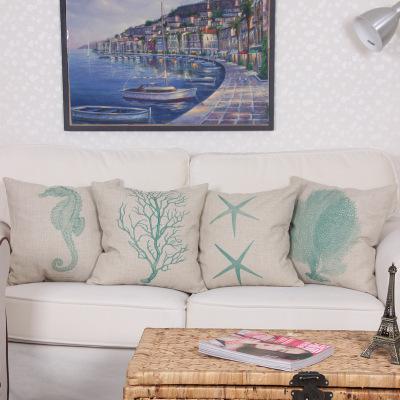 海洋系列棉麻珊瑚海马海星抱枕 亚麻家居沙发抱枕靠枕套