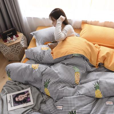 四件套床上用品网红简约 床单被套四季学生三件套