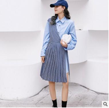 韩版个性拼接连衣裙女装 2021新款春季中腰裙子女 时尚气质长裙女