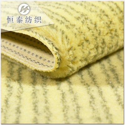 黄底绿条纹磨毛锦纶滚筒刷布料 梭织刷子布