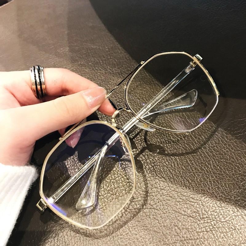 不规则太阳镜 半框平光镜女多边形海洋片墨镜