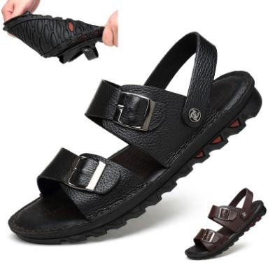 厂家直供新款男式头层牛皮沙滩鞋软底凉鞋男士大码男皮凉拖鞋批发