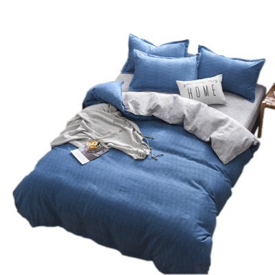 四件套床上用品简约单双人 加厚磨毛床单被套三件套