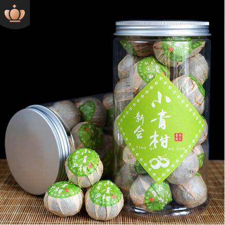 青皮聚天禾小青柑普洱茶 新会小青柑普洱熟茶2罐500g赠手提袋