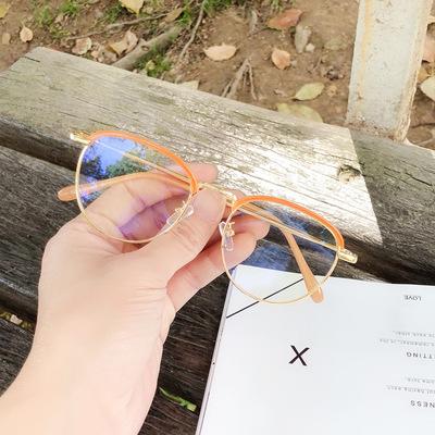 韩版复古半框圆形ins圆脸太阳眼镜 防紫外线眼镜
