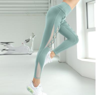 健身紧身裤户外跑步运动瑜伽裤女 速干吸湿高弹裸感网纱蜜桃臀裤