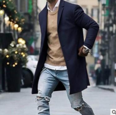 2020跨境热销款外套 亚马逊独立站冬季翻领休闲男士呢子大衣