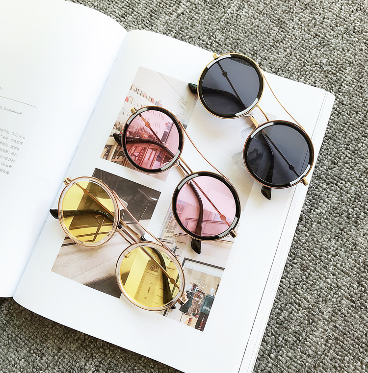 欧美圆框拼接双梁墨镜 复古潮显瘦圆脸个性太阳镜