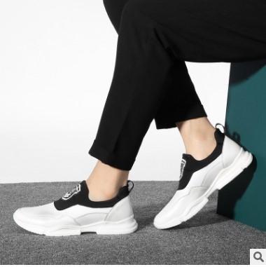 克雷斯丹尼春夏男士运动鞋小牛皮小牛皮一脚蹬休闲男鞋