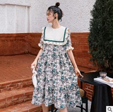 2021春季新款女装荷叶边中长裙个性拼接碎花连衣裙女短袖宽松裙子