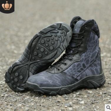 秋冬防滑耐磨蟒纹迷彩军靴战术靴作战靴特种兵沙漠靴男高帮登山靴
