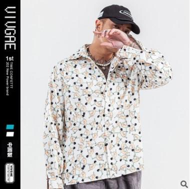VIVGAE潮牌男装同款衬衣2020春季韩版卡通印花雪纺男女长袖衬衫