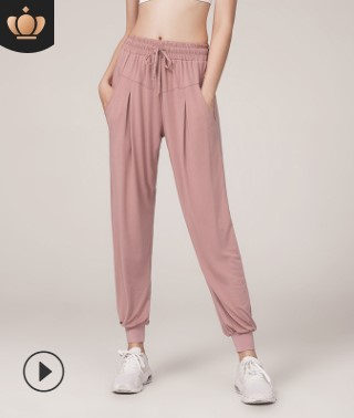 欧美速干宽松显瘦运动裤女束脚跑步健身纯色口袋高腰休闲瑜伽裤