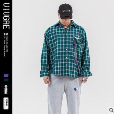 VIVGAE男装复古格子长袖衬衫男2021初春新款韩版宽松百搭潮牌衬衣
