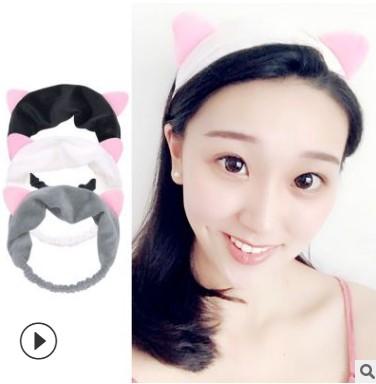 毛绒猫耳朵束发带发箍韩国女士可爱化妆网红洗脸猫耳朵发带头带