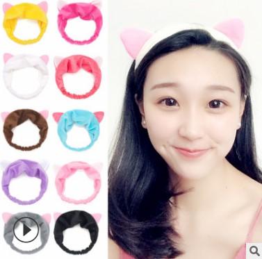 厂家批发新款猫耳朵发带女士可爱运动化妆洗脸猫耳朵束发带发饰