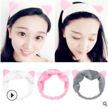 厂家批发流行新款猫耳朵发带韩版女士卡通洗漱化妆洗脸束发带发饰