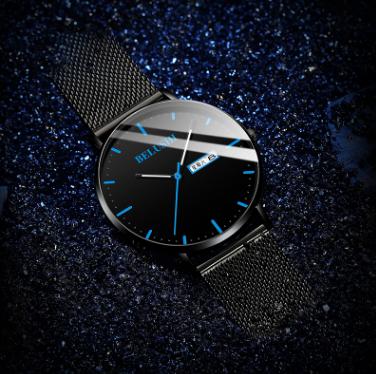 新款男士手表商务潮流时尚大气石英表防水夜光皮网带源头批发厂家