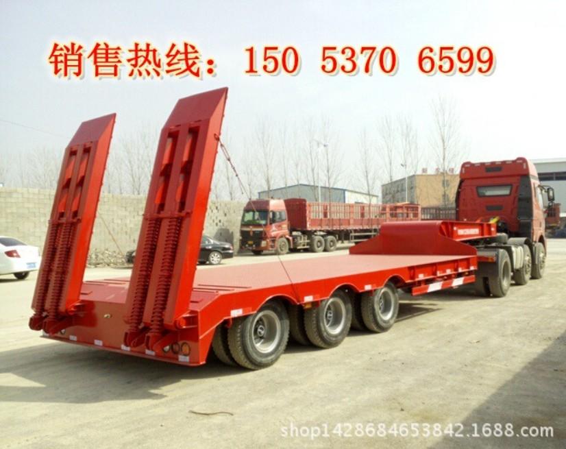 13米爬梯板液压爬梯低平板半挂运输车 价格
