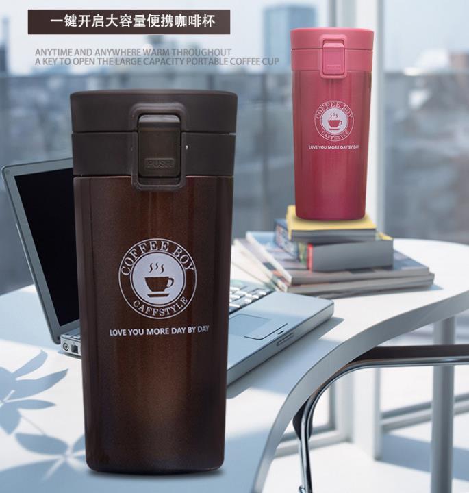 热销弹盖304保温杯创意礼品杯子定制广告水杯户外旅行咖啡杯