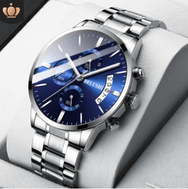 石英表男士商务时尚三眼六针计时器日历手表潮