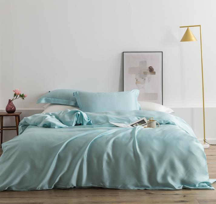 兰精天丝四件套纯色简约轻奢丝滑床品莱赛尔纤维刺绣套件代发